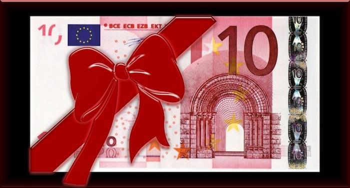 10 Euro Geldschein mit Schleife drum herum