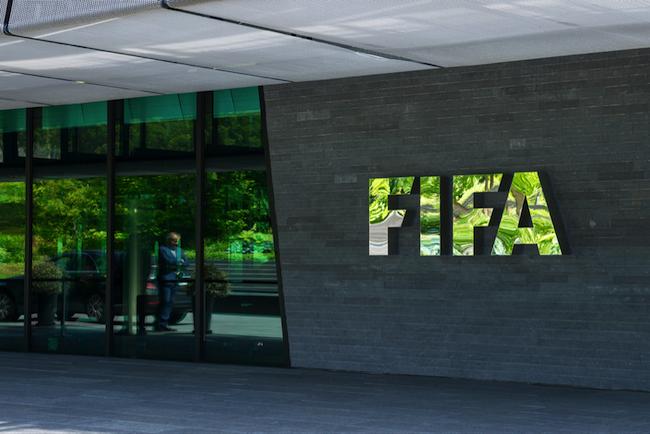Der Eingang des FIFA-Hauptquartiers in Zürich