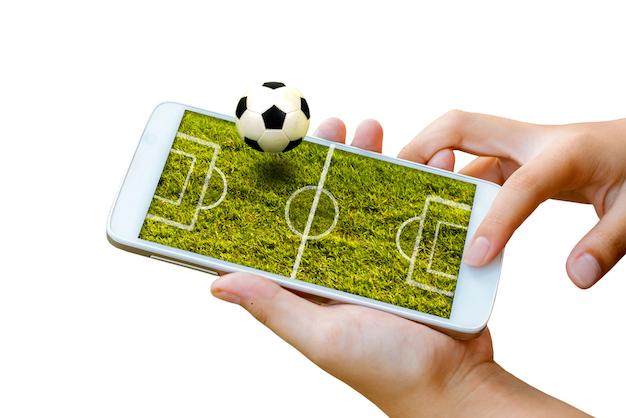 Fußball auf einem Smartphone