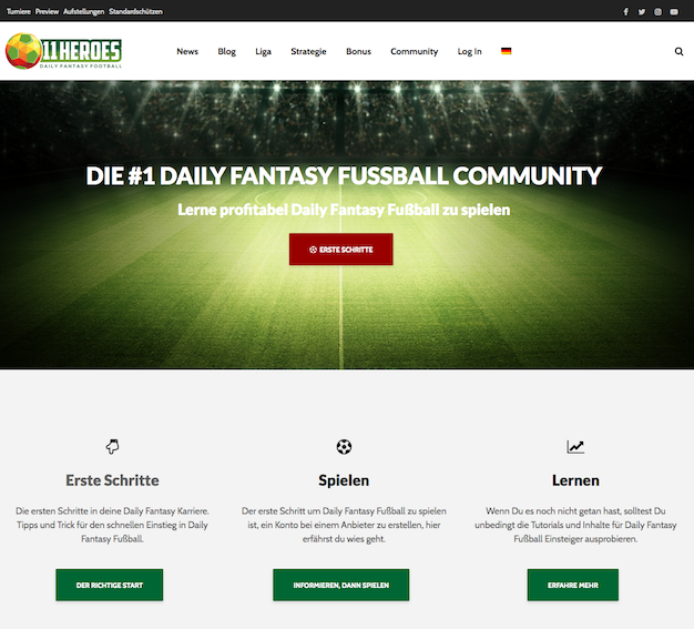 11 Heroes Fantasy Manager Screenshot der Webseite v