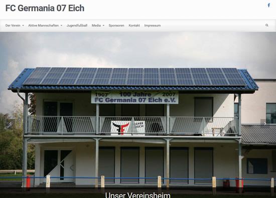 Screenshot der Homepage vom FC Germania 07 Eich, aufgenommen am 21.03.2016