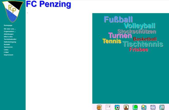 Screenshot der Homepage vom FC Penzing, aufgenommen am 06.03.2016