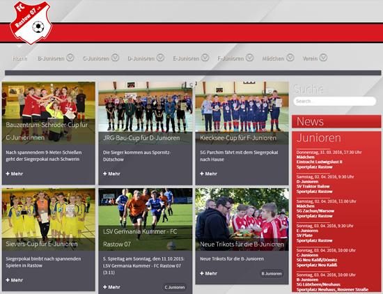 Screenshot der Homepage vom FC Rastow, aufgenommen am 31.03.2016