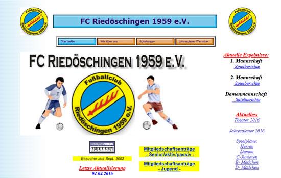 Screenshot der Homepage vom FC Riedöschingen, aufgenommen am 28.08.2018