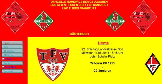Screenshot der Homepage vom Frankfurter FC Viktoria, aufgenommen am 18.05.2013