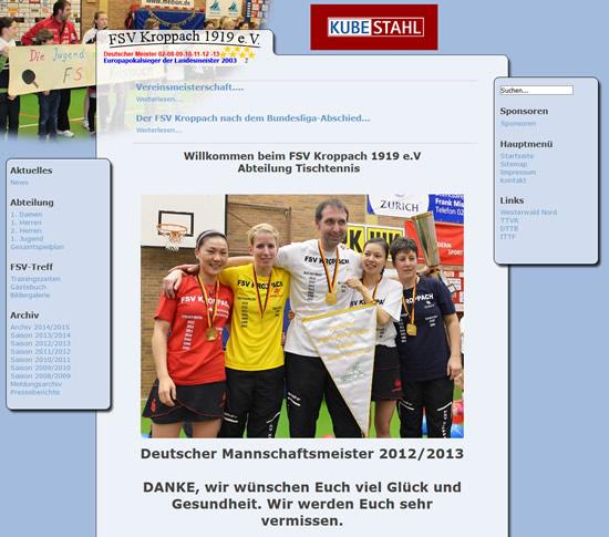 Screenshot der Homepage vom FSV 1919 Kroppach, aufgenommen am 11.05.2016