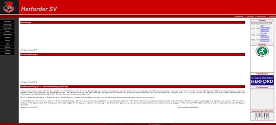 Screenshot der Homepage vom Herforder SV, aufgenommen am 01.08.2015