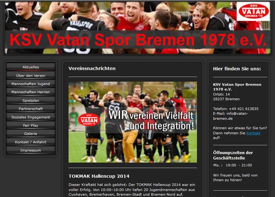 Screenshot der Homepage vom KSV Vatan Sport Bremen, aufgenommen am 20.04.2018