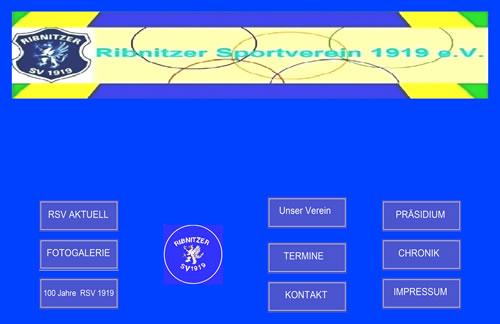 Screenshot der Homepage vom Ribnitzer SV 1919, aufgenommen am 08.11.2018