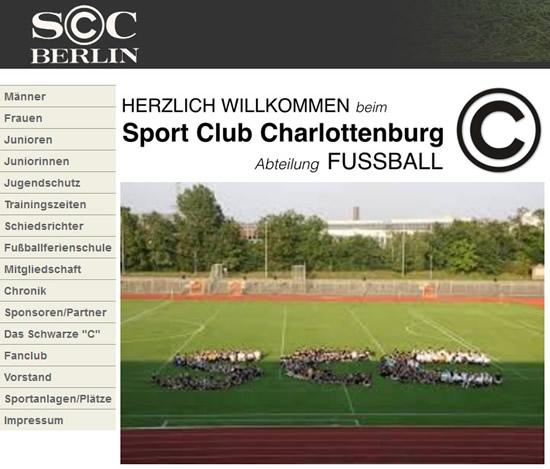 Screenshot der Homepage vom SC Charlottenburg, aufgenommen am 03.03.2018