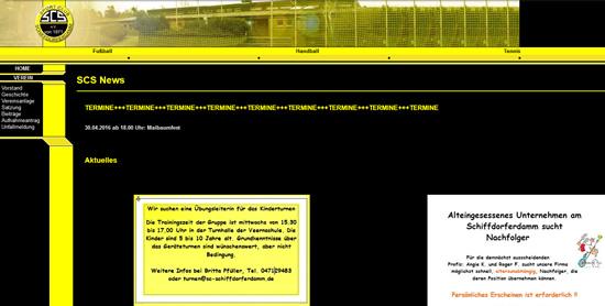 Screenshot der Homepage vom SC Schiffdorferdamm, aufgenommen am 11.04.2016