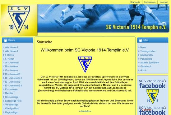 Screenshot der Homepage vom SC Victoria Templin, aufgenommen am 16.05.2017