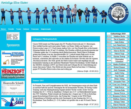 Screenshot der Homepage vom SG Kolochau (www.sg-kolochau-74.de), aufgenommen am 08.08.2018