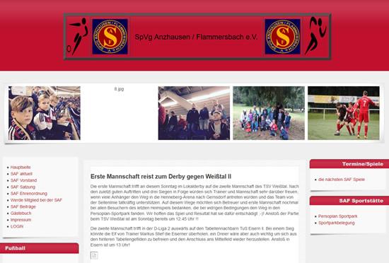 Screenshot der Homepage vom SpVg Anzhausen-Flammersbach, aufgenommen am 15.05.2015