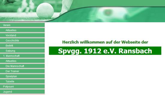 Screenshot der Homepage vom SpVgg Ransbach, aufgenommen am 22.04.2012