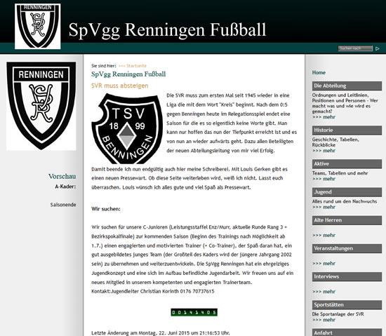 Screenshot der Homepage vom SpVgg Renningen, aufgenommen am 24.06.2015