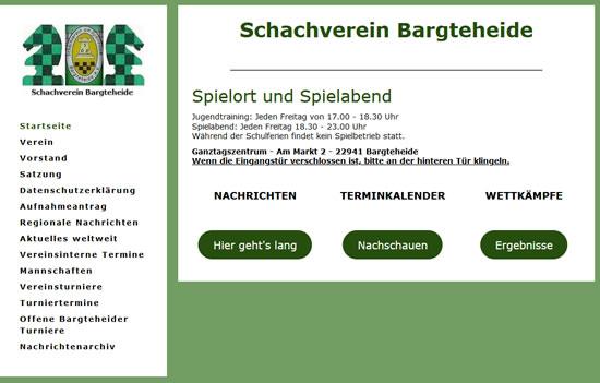 Screenshot der Homepage vom SV Bargteheide (www.sv-bargteheide.de), aufgenommen am 12.08.2019