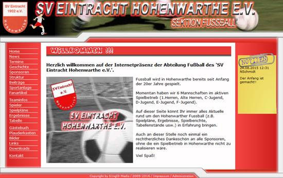 Screenshot der Homepage vom SV Eintracht Hohenwarthe, aufgenommen am 09.01.2016