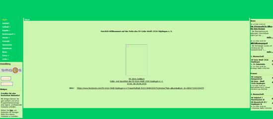 Screenshot der Homepage vom SV Riedheim, aufgenommen am 29.07.2016
