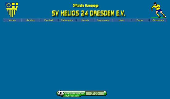 Screenshot der Homepage vom SV Helios 24 Dresden, aufgenommen am 14.02.2012