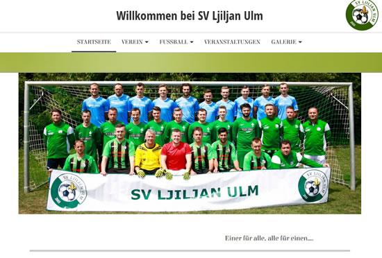 Screenshot der Homepage vom SV Ljiljan Ulm, aufgenommen am 15.04.2018