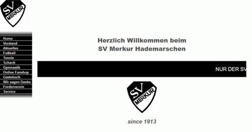 Screenshot der Homepage vom SV Merkur Hademarschen, aufgenommen am 29.08.2019