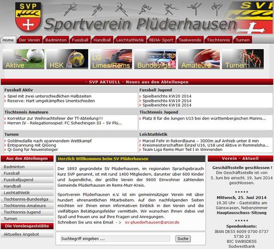 Screenshot der Homepage vom SV Plüderhausen, aufgenommen am 11.06.2014