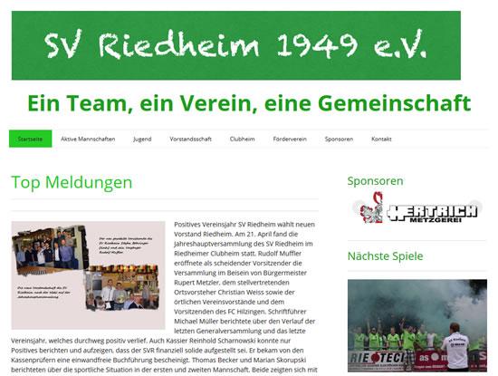 Screenshot der Homepage vom SV Riedheim, aufgenommen am 16.10.2017