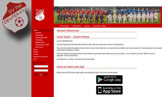 Screenshot der Homepage vom SV RW Deuten, aufgenommen am 18.12.2014