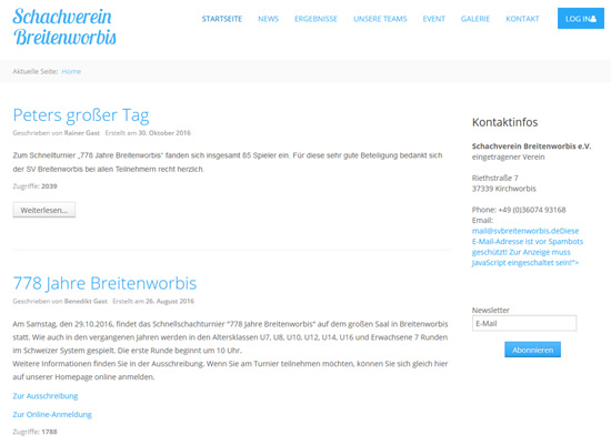 Screenshot der Homepage vom SV Breitenworbis, aufgenommen am 28.09.2018