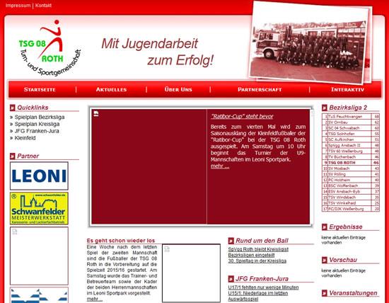 Screenshot der Homepage vom TSG 08 Roth, aufgenommen am 25.06.2015