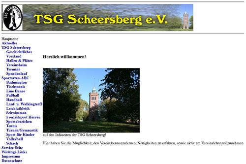 Screenshot der Homepage vom TSG Scheersberg, aufgenommen am 29.01.2020