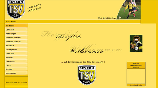 Screenshot der Homepage vom TSV Bevern, aufgenommen am 03.01.2011