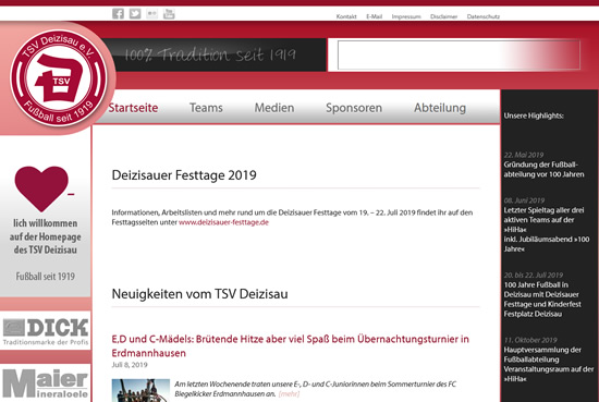 Screenshot der Homepage vom TSV Deizisau, aufgenommen am 01.08.2019