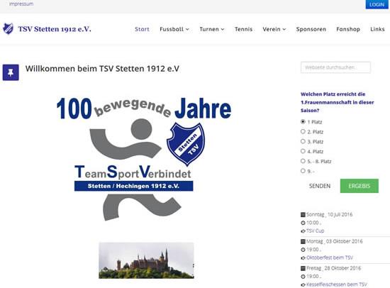 Screenshot der Homepage vom TSV Stetten 1912, aufgenommen am 01.07.2016