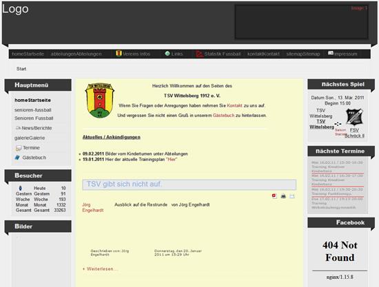 Screenshot der Homepage vom TSV Wittelsberg, aufgenommen am 16.02.2011
