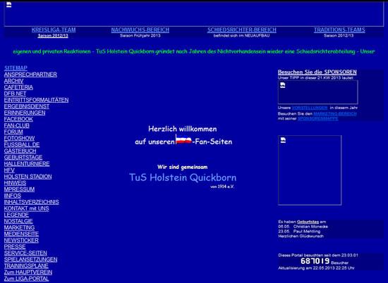 Screenshot der Homepage vom TuS Holstein Quickborn, aufgenommen am 22.05.2013