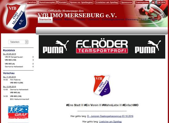 Screenshot der Homepage vom VfB IMO Merseburg, aufgenommen am 10.06.2016