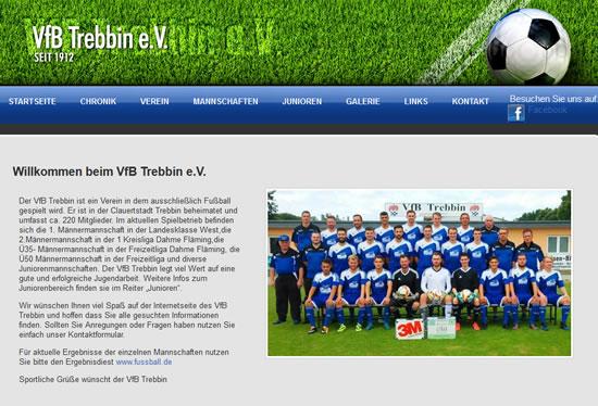 Screenshot der Homepage vom VfB Trebbin, aufgenommen am 29.07.2019