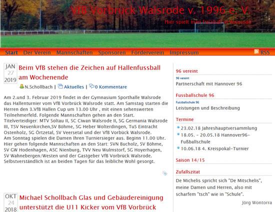 Screenshot der Homepage vom VfB Vorbrück Walsrode, aufgenommen am 02.02.2019