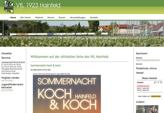 Screenshot der Homepage vom VfL Hainfeld, aufgenommen am 14.07.2014