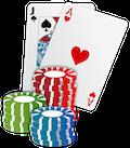 Karten und Würfel für Glücksspiel